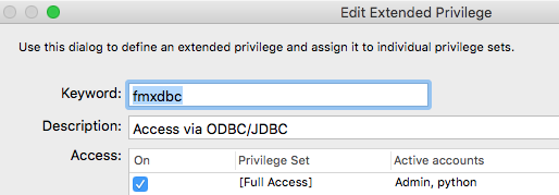 FMXDBC Extended Privilege