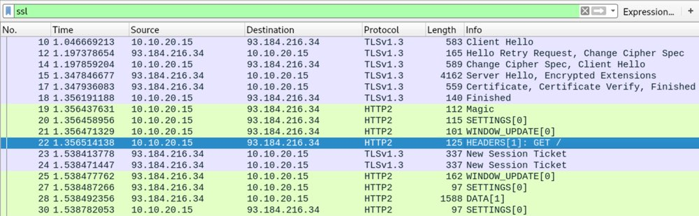 Wireshark traffic